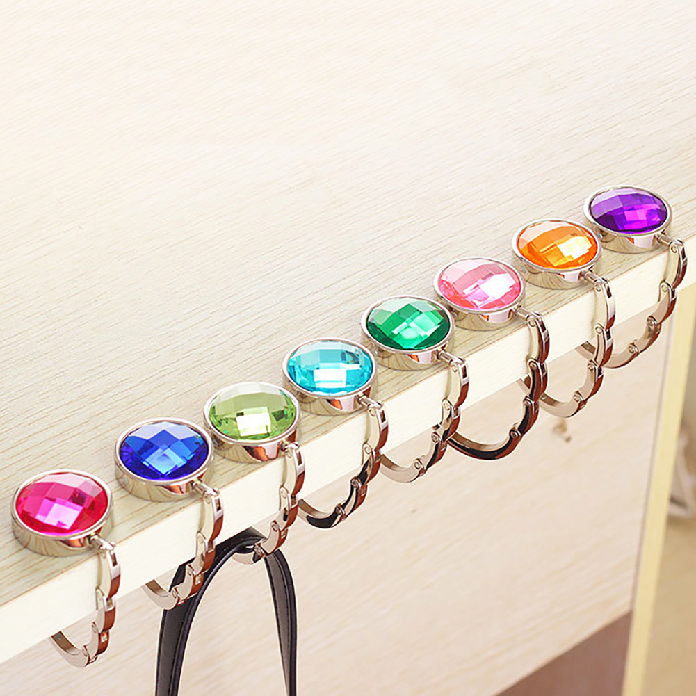 Portable Handbag Folding Hanger Holder Hooks Crystal Alloy Magic Hooks For Purse Bag Convenient Rhinestone Hanger Purse Hooks