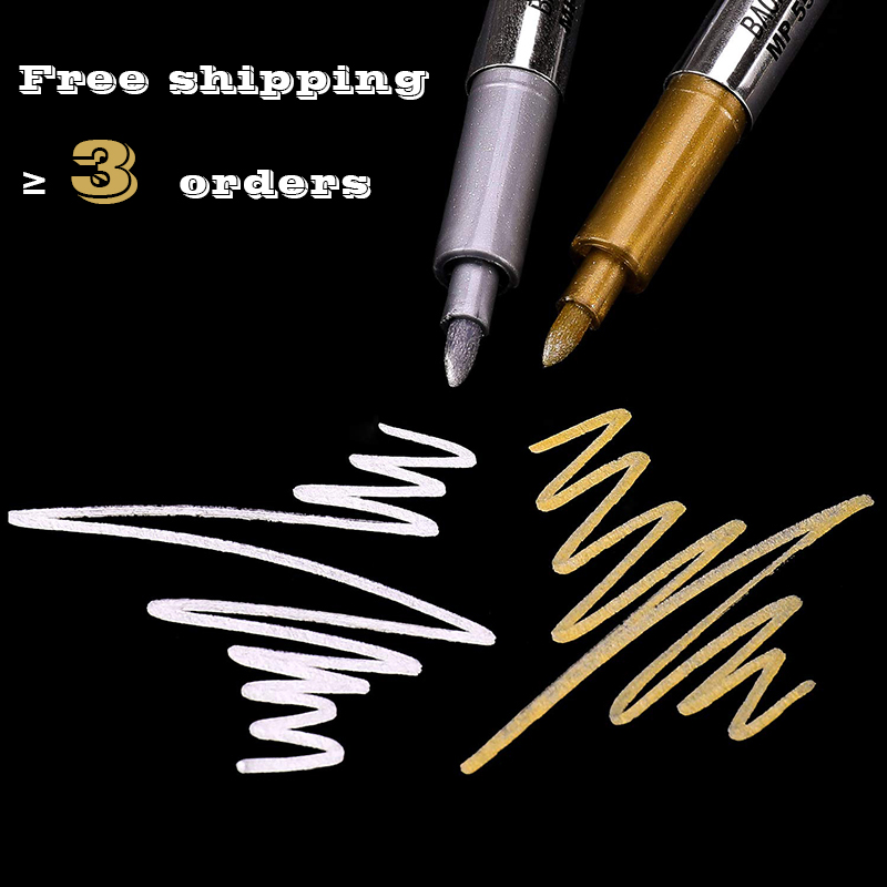 2Pcs DIY Gold And Silver 1.5mm Metallic Marker Pen Waterproof Permanent Paint For Painting Pens Student Supplies Craftwork Art
