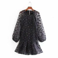 Women sweet floral pattern mini dress lantern sleeve straight style female casual stylish Organza dresses vestidos