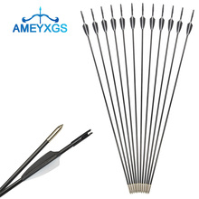 6/12Pcs 30 Archery Recurve Bow Compound Bow Glassfiber Arrows Broadhead For Hunting Shooting Training Accessories 5 colors 30 50 lbs 58 inches aluminum alloy bow handle for compound recurve bow archery hunting shooting