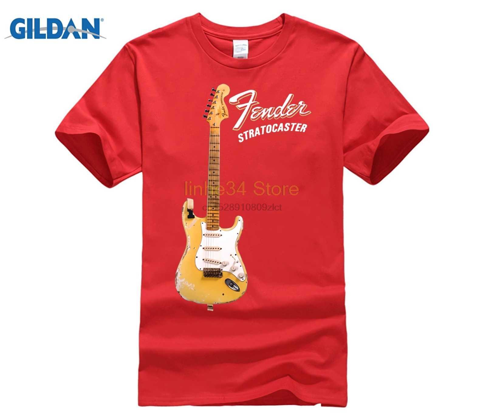 100% de algodón estampado camisas personalizadas camiseta YNGWIE MALMSTEEN Stratocaster guitarra eléctrica camiseta negro