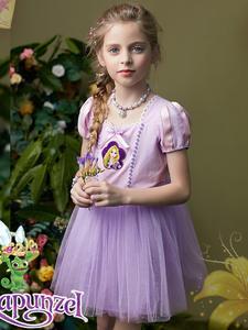 Disney Costume Princess Dress-Up Cosplay-Dresses Rapunzel Halloween Kids Girl Casual