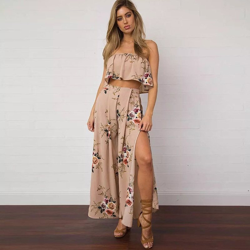 Large Size Women 2019 Summer Printed Split Loose Wide Leg Pants Ladies Casual Fashion Mid Waist Chiffon Trousers in Pants amp Capris from Women 39 s Clothing