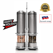 Pepper Mill Electric Pepper Grinder Salt Mill 2PCS with metal Stand  LED Light Grinding Tool Automatic Mills for kitchen Tools