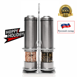 Image 1 - Pepper Mill Electric Pepper Grinder Salt Mill 2PCS with metal Stand  LED Light Grinding Tool Automatic Mills for kitchen Tools