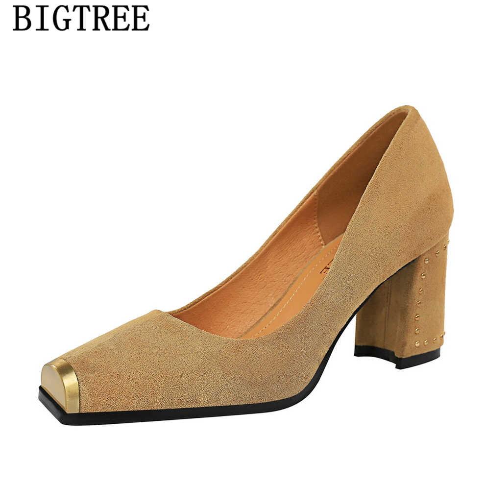 Nero Tacchi Blocco Scarpe Tacco Scarpe da Donna Pompe Scarpe da Donna Fetish Tacco Alto Pompe Chaussures Mariage Scarpe Donna Eleganti 2019