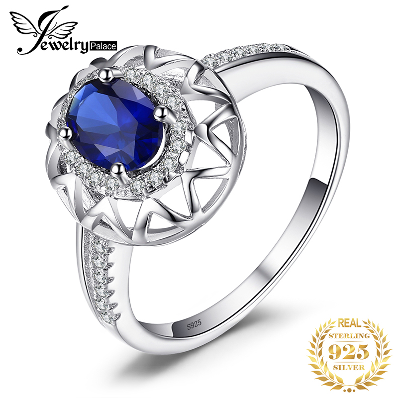 JewelryPalace Created Sapphire Ring 925 Sterling Silver Rings For Women Engagement Ring Silver 925 Gemstone Jewelry Fine Jewelry