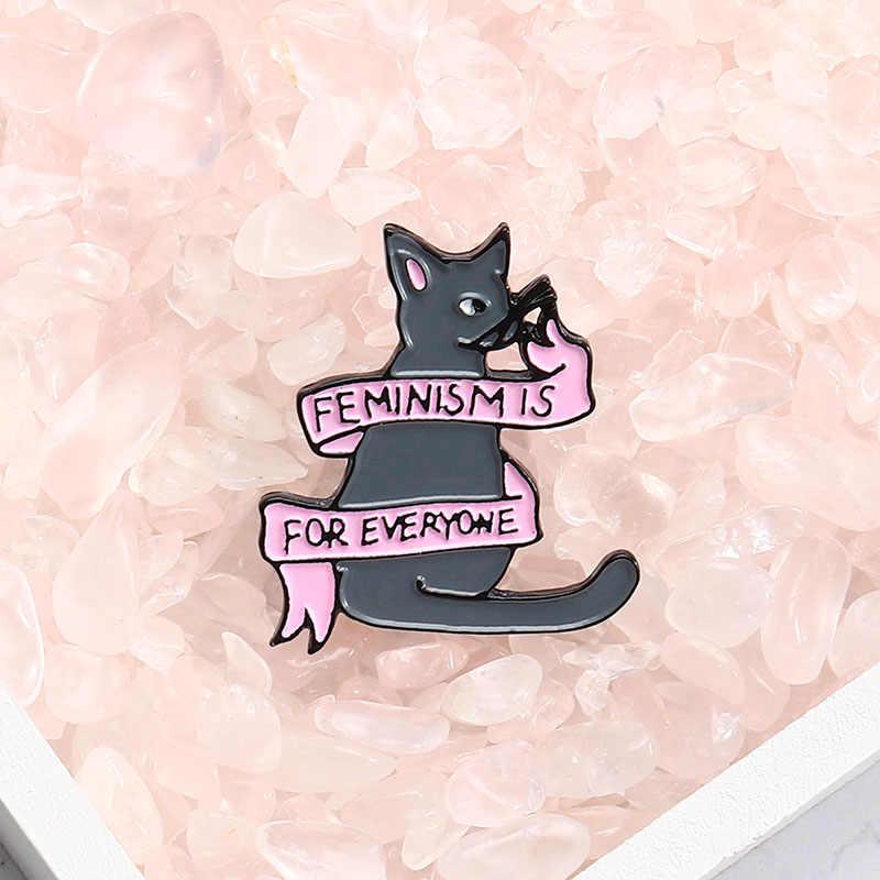 Il femminismo È per Tutti Smalto Spille Del Fumetto Camicia Banner Cat Spille Risvolto Spille Sacchetto Distintivo Femminista Dei Monili di Regalo per Gli Amici
