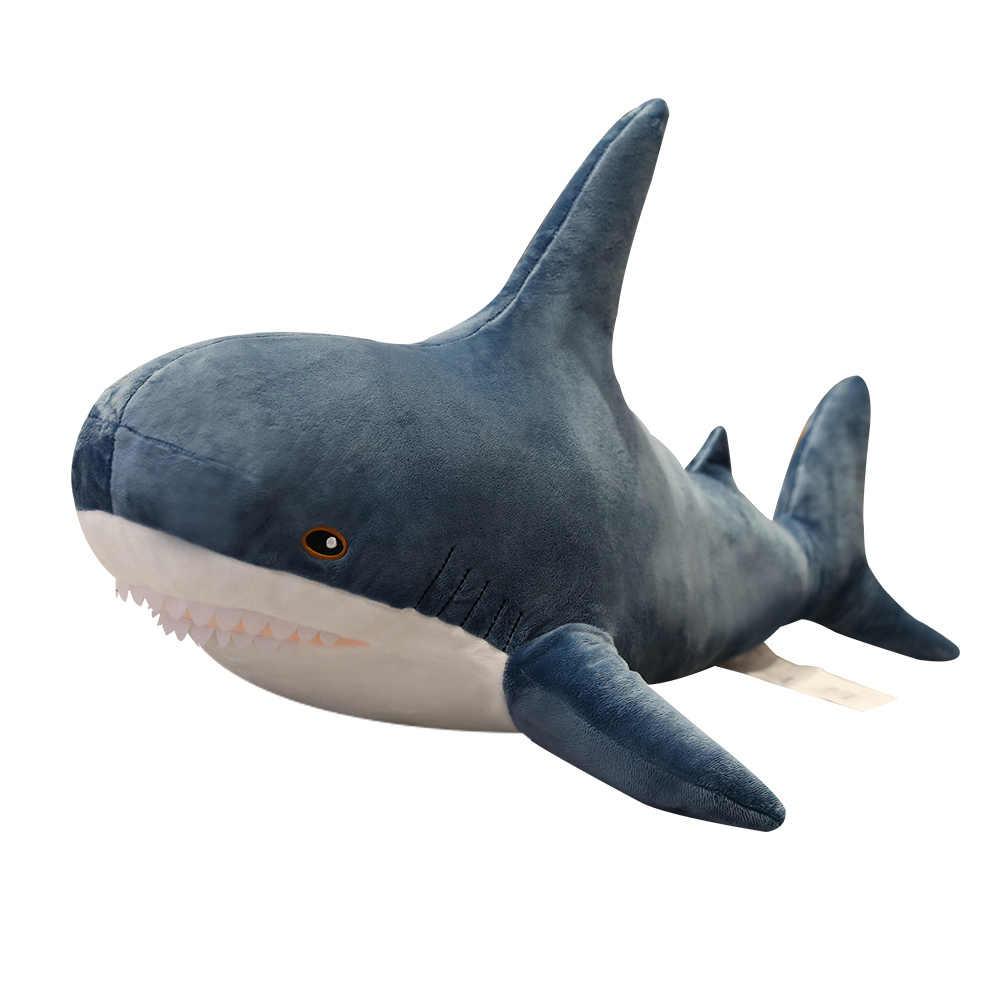 Shark Mainan Mewah Populer Tidur Bantal Teman Perjalanan Hadiah Mainan Hiu Lucu Boneka Hewan Ikan Bantal Mainan untuk Anak