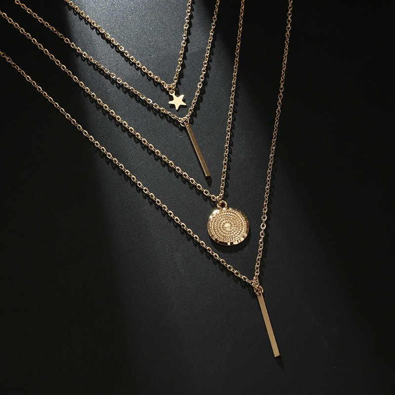 חדש בוהמי נשים של שרשרת רטרו רב שכבתי תליון שרשרת זהב כוכב שרשרת מתנת אופנה רחוב לירות שרשרת Jewelrys