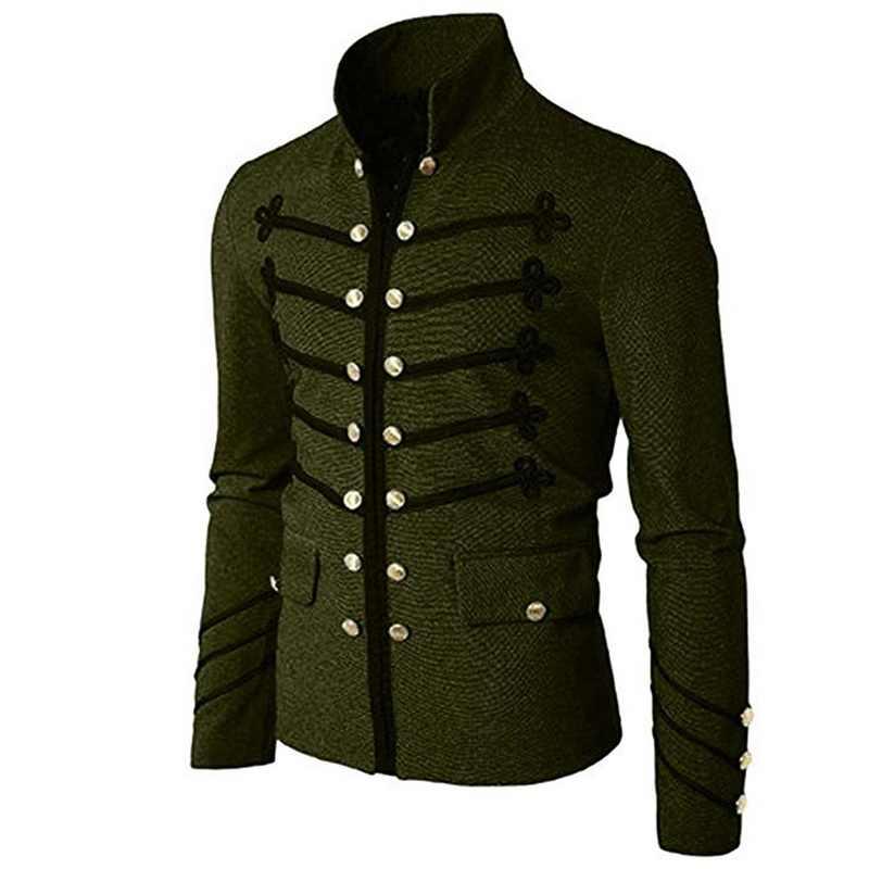 MJartoria 2019 винтажная мужская куртка в готическом стиле Осень стимпанк Туника рок-платье Мужской винтажный костюм панка металлический армейский пиджак верхняя одежда
