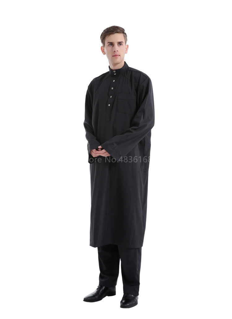 H4da33f421a334f6784624a4362a71887c - Islamic Clothing Men Muslim Robe Arab Thobe Ramadan Costumes Solid Arabic Pakistan Saudi Arabia Abaya Male Full Sleeve National