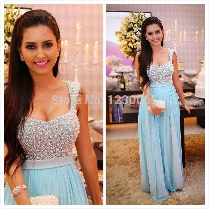 Robe De Soiree Sky Blue Pearls Elegant Cap Sleeve Long Chiffon Sheer Prom Gown Women 2018 Free Shipping Bridesmaid Dresses