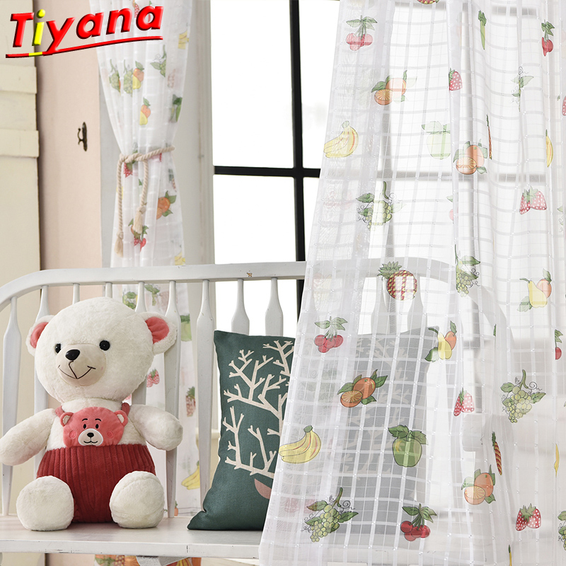 Fruit Tulle Curtains for Kitchen Banana/Strawberry/Apple/Orange Yarn for Kid's Room Pineapple Window Drapes Grape Panel T171#15|Curtains| |  - title=