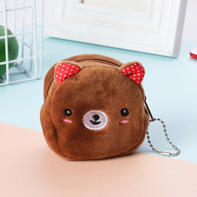 Cartoon plush ladies coin purse cute anime coin bag key bag female children student wallet gift bag female zipper casual bag 5