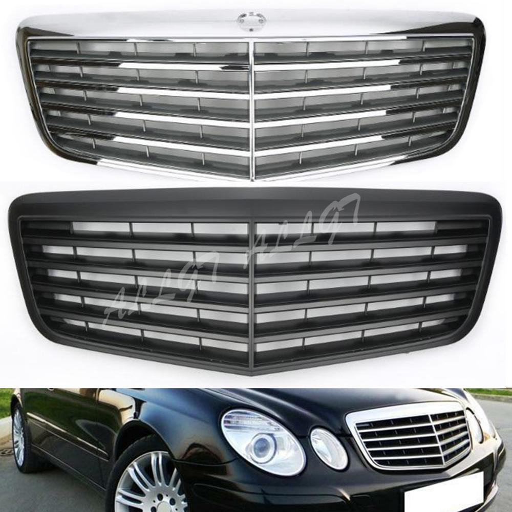For <font><b>Mercedes</b></font>-Benz E-Class W211 E200 E240 E280 E320 2007 2008 2009 Front Grill Center Hood Grille Bumper Black Silver image