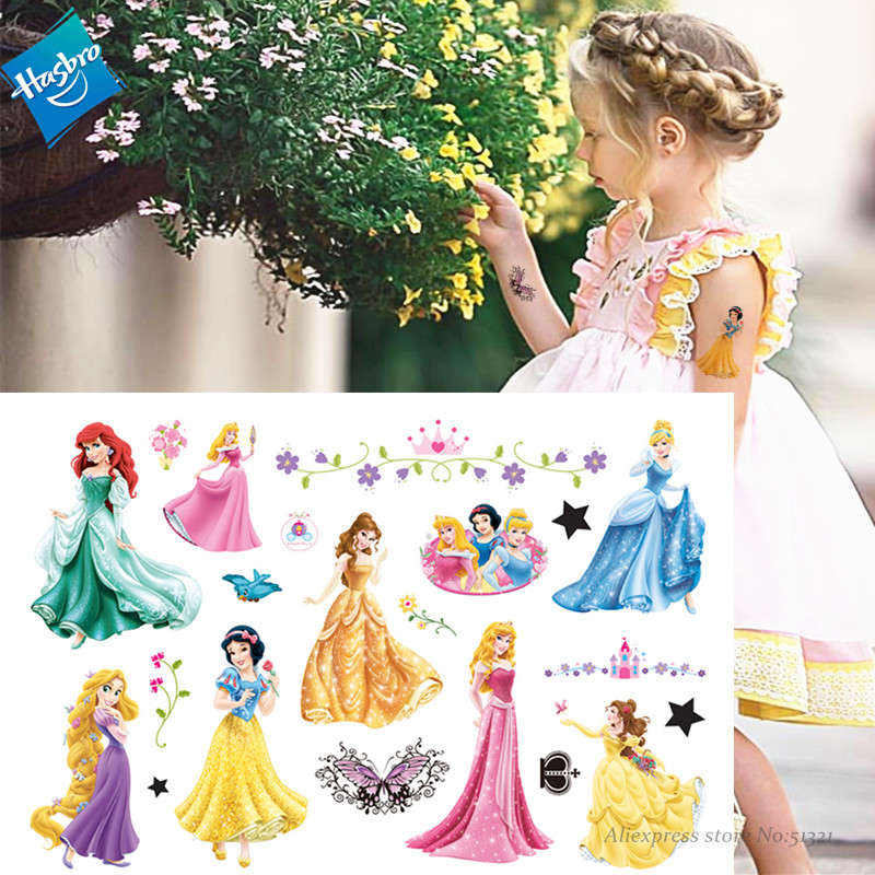 Hasbro Snow White Mermaid Princess Arie Children Cartoon Temporary Tattoo Sticker For Girl Cartoon Toy Waterproof Girl Gift
