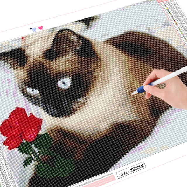 HUACAN Full Drill Square Diamond Painting Cat New Arrival 5D Diamond Embroidery Animal Diamond Art Home