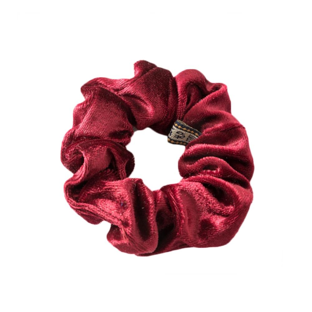 1 шт., женское эластичное кольцо для волос, зимние мягкие бархатные резинки, резинки для волос, милые одноцветные аксессуары для волос, держатель для конского хвоста - Цвет: Бордовый
