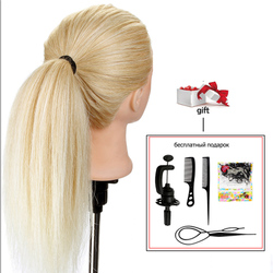 20'' 100% Real Human Hair Hairdressing Training Head for Hairstyles Doll Hair Curling Practice Mannequin Head + Clamp Dummy Doll