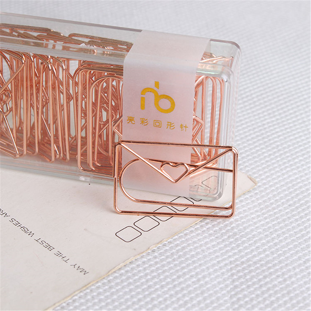 Rose Gold Love Paper Clip Creative Special-shaped Modeling Clip Metal Office Accessories Paperclips Metal Paper Clips Bookmark