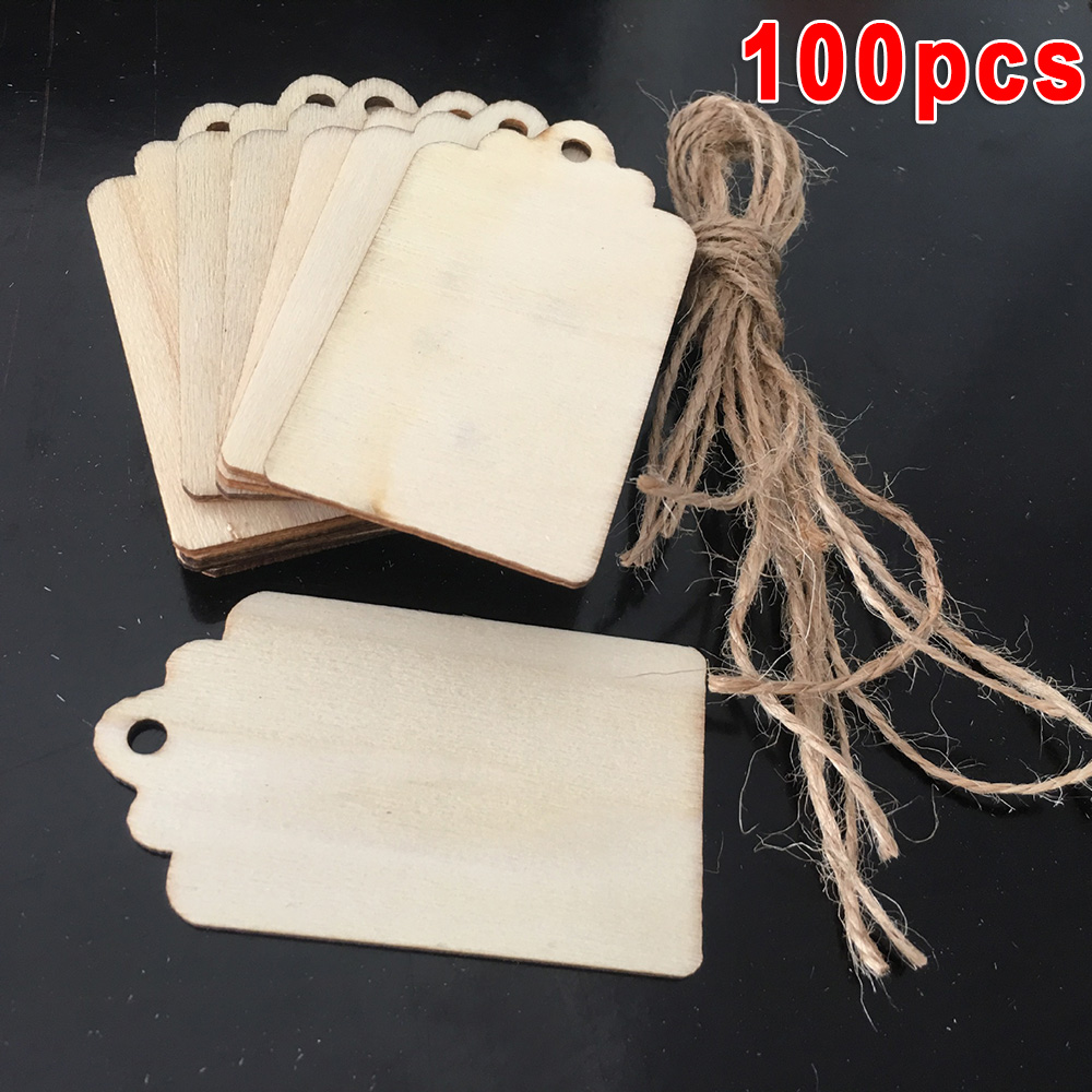 Wooden Gift Tags Jar Labels Wedding Christmas Blank Cards Wood Handcrafts DIY