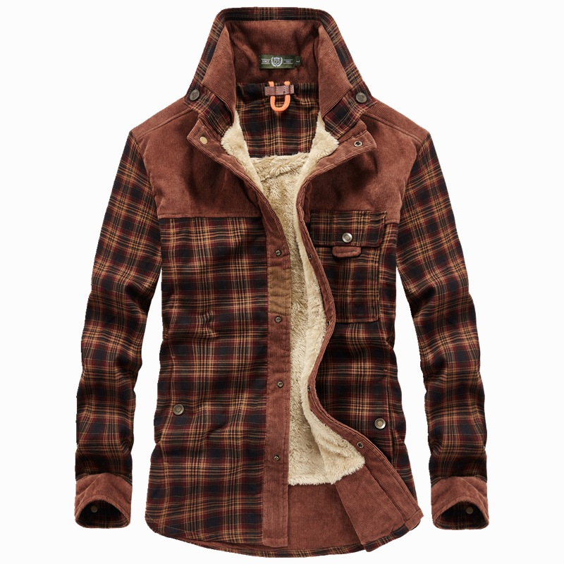 Brand Men Shirt Thick Warm Winter Shirts Men Fleece Plaid Pure Cotton Camisa Masculina Casual Fashion Gentlemen Chemise Homme