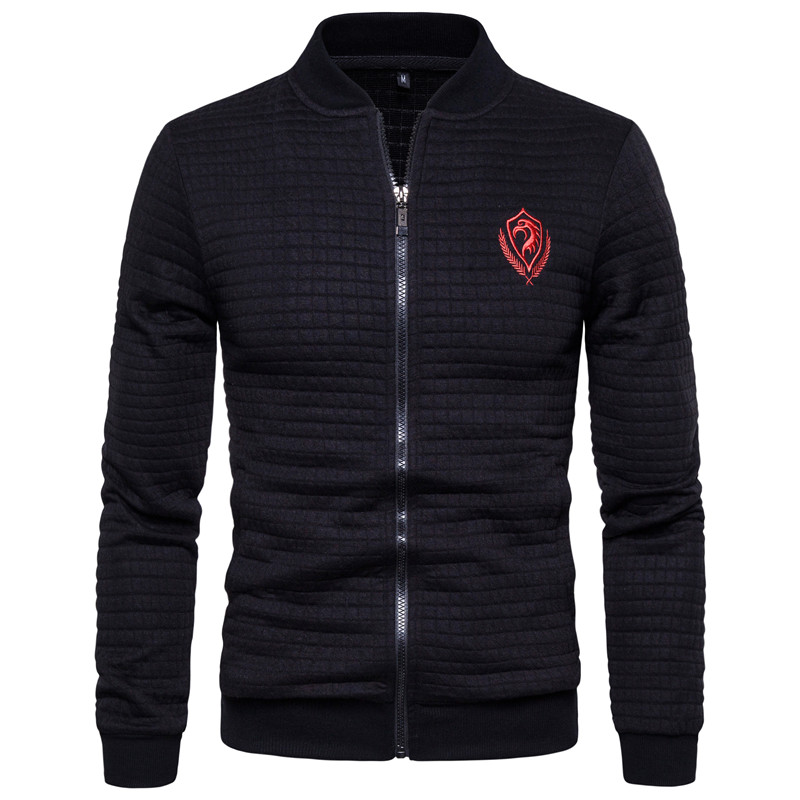 H4da3db5704694c85b1323462188c40e4U - New Spring Eagle Embroidery Bomber Jacket Men Cardigan Stand Collar Jacket Men Casual Plaid Zipper Mens Coats and Jackets