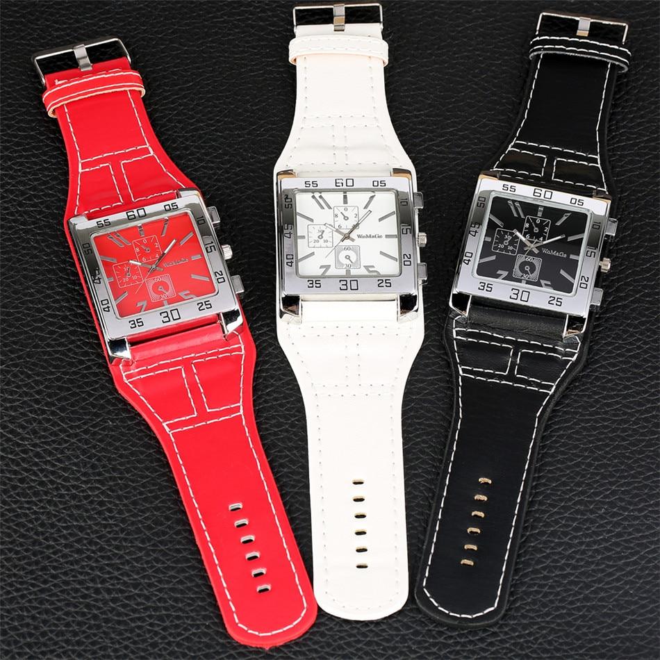 Punk Fashion Black/Red/White Women's Watch Square Dial Big Size Leather WatchBand Lady Rock Fashion Wristwatches Quartz Movement