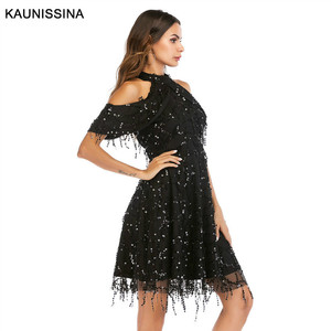 Image 5 - KAUNISSINA Taseel Party Dress Sequins Cocktail Dress Sexy Halter Neck Cold Collar Short Homecoming Robe Celebrity Gown