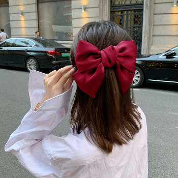 New Girls Large Bow Chiffon Hairpins Ribbon Hairgrips Satin Hair Clip Elastic Hair Bands French Barrettes Women Hair Accessories big large barrette two levels chiffon hair bow love heart hair clip for women girls hairgrips sweet new fashion hair accessories