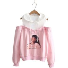 New Ariana Grande Womens Hoodie Fashion Off-Shoulder Casual Sports