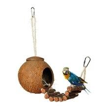 Natural Coconut Shell Bird Nest House Hut Cage Feeder Pet Parrot Parakeet Toy