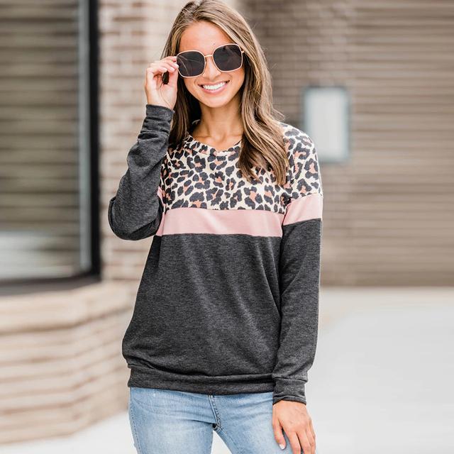 2019 moda mujer Casual de manga larga otoño camiseta leopardo camiseta primavera Top Camisetas Mujer señoras camiseta ropa talla grande s-XL