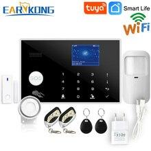 Wifi GSM сигнализация Tuya сигнализация 433 МГц беспроводной и проводной детектор охранная сигнализация RFID карта TFT lcd Сенсорная клавиатура 11 языков