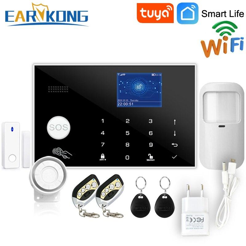 Wifi GSM Alarm System Tuya Alarm 433MHz Wireless & Verdrahtete Melder Einbrecher Alarme RFID Karte TFT LCD Touch Tastatur 11 sprachen
