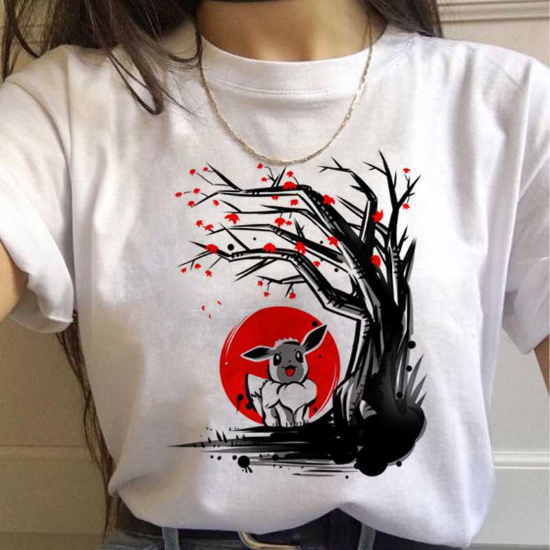 Женские футболки в стиле Харадзюку «Покемон го» с забавным рисунком Пикачу, футболка с милым принтом 90 s, модная уличная одежда, женские футб...