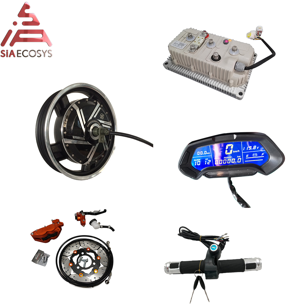 16*3.0inch 8kW V3 72V110KPH BLDC E-Motorcycle In-Wheel Hub Motor Power Train With Kelly Sine Wave Controller