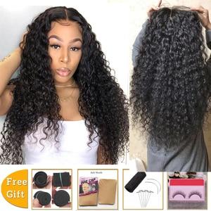 Image 1 - Lanqi, venta al por mayor, peluca con malla frontal con diadema, pelucas de cabello humano con encaje frontal brasileño para mujeres negras, peluca con cierre de encaje 4x4