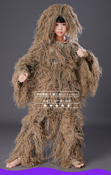 Children Kids Hunting clothes 3D maple leaf Bionic Ghillie Suits Yowie sniper Camouflage Suit birdwatch airsoft Camouflage Set 3