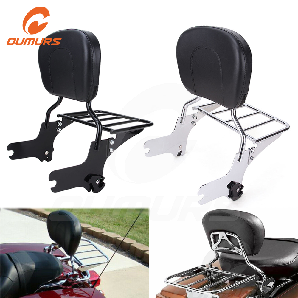 Oumurs Adjustable Detachable Backrest Pad Sissy Bar Luggage Rack For Harley Touring Electra Glide Road King FLHR FLHT FLHX 2009-2019 Chrome