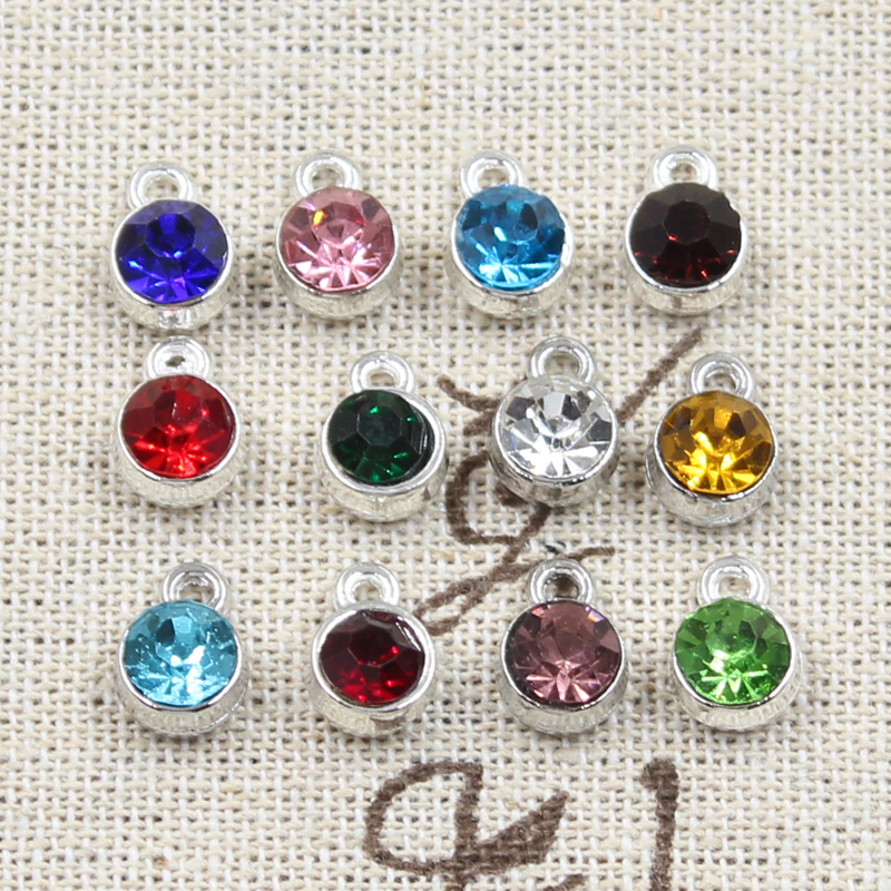 12pcs Charms Birthstone Birth Stone 10x7mm Pendants DIY Handmade Making Findings Gold Silver Color Crystal For Necklace Bracelet