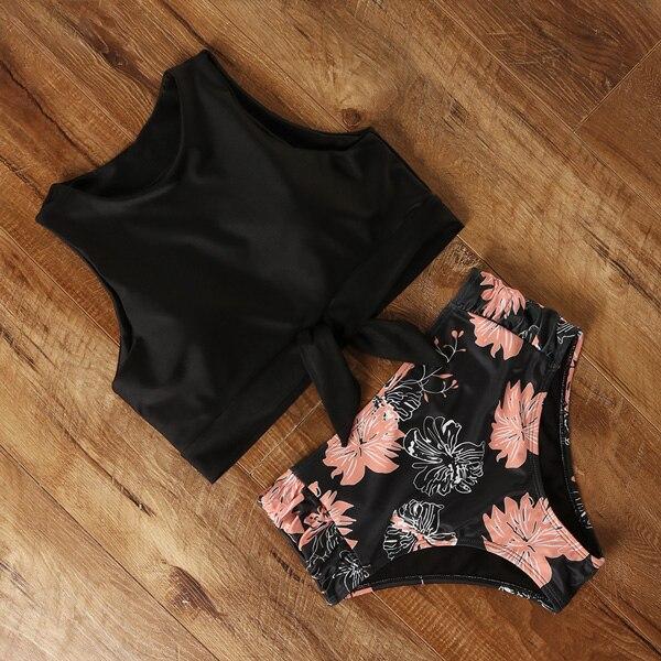 High Waist Bikini Leopard Swimsuit Women Bikini 2020 Floral Swimsuit Print High Neck Bikini Push Up Swimwear Snake Bathing Suit 5