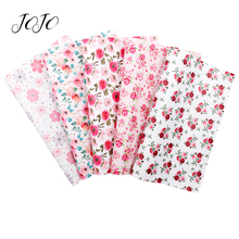 JOJO BOWS 22*30cm 1pc Faux Synthetic Leather Fabric For Needlework Floral Printed DIY Hairbows Apparel Sewing Home Textile Sheet jojo bows 22 30cm 1pc synthetic leather fabric for crafts mermaid printed faux sheet for needlework bag apparel sewing materials