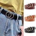 Женский модный большой ремень с двойным кольцом и металлической пряжкой, широкий кожаный ремень для отдыха, джинсы