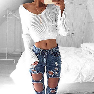 Hot Women Casual Long Sleeve Knitted Pullover Loose Sweater Jumper Crop Top Knitwear