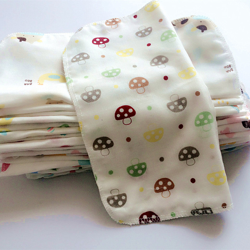 10pcs Baby Infant Towel 25*25cm Muslin Towel Handkerchiefs Two Layers Wipe Towel