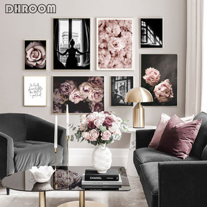 Scandinavian Fashion Poster Pink Flower Sexy Girl Nordic Style Wall Art Canvas Print Painting Modern Living Room Decor Picture