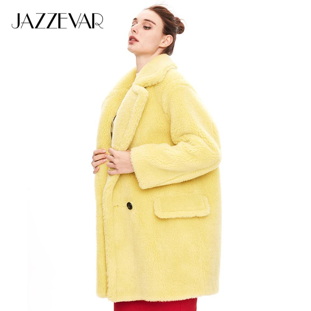 JAZZEVAR 2019 Winter new arrival fur coat women high quality mid length style outerwear loose clothing