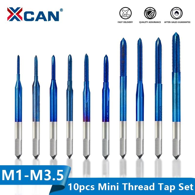 Broca com Chave de Torneira Xcan Thread M1-m3.5 Hss Métrica Plug Parafuso Ajustável Nano Azul Revestido Máquina Torneira Tap 10 Pçs